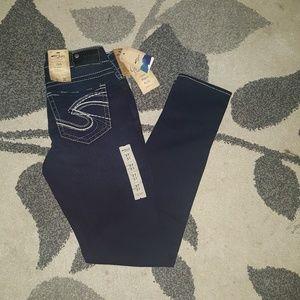 Silver skinny jeans for women size w27